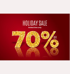 golden holiday sale 70 percent off vector image
