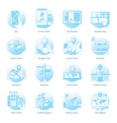 Gps services flat rounded icons pack vector