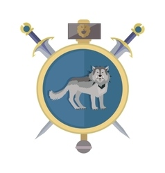 Grey wolf in gold circle game object vector