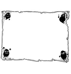 Halloween frame old scroll sheet with ghosts vector