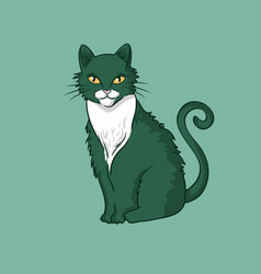 hand-drawn cat isolated on green background vector image