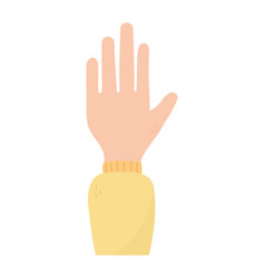 Hand showing five fingers on white background vector