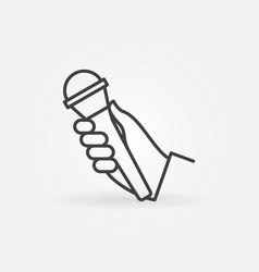 hand with mic icon in thin line style vector image