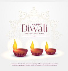 Happy diwali background with three diya lamps vector