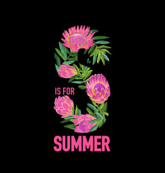 hello summer botanical tropical design floral vector image