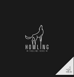 Howling wolf logo with simple line art concept vector