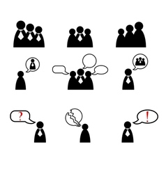 Human management icons set vector
