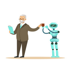Humanoid robot bringing coffee for a smiling vector