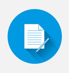Image a document with a pencil on blue vector