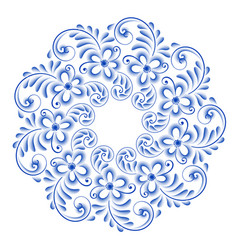 Isolated blue round floral gzhel decoration vector