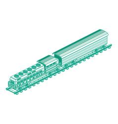 isometric train locomotive outline cargo train vector image
