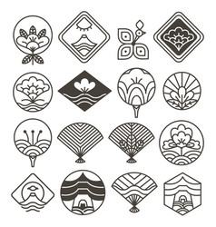 Japanese monochrome icons set with ethnic motifs vector