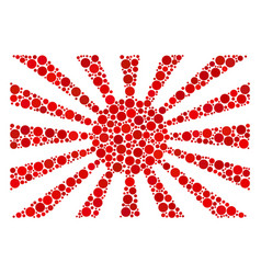 Japanese rising sun collage of filled circles vector