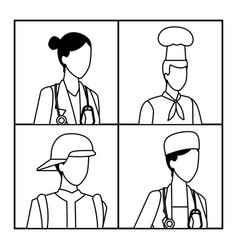 Jobs and professions avatar in black and white vector