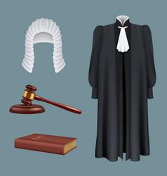Judge equipment law and justice realistic symbols vector