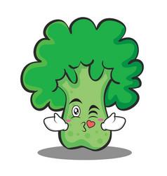 Kissing heart broccoli chracter cartoon style vector