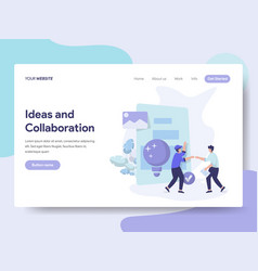 landing page template of ideas and collaboration vector image