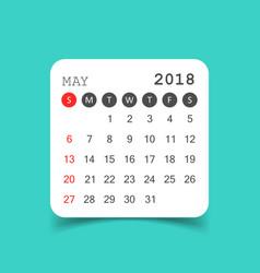 May 2018 calendar calendar sticker design vector