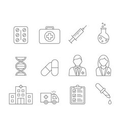 medical line icons on white background editable vector image