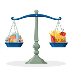 medicines and junk food on balanced scale healthy vector image