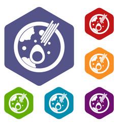Miso soup icons set hexagon vector