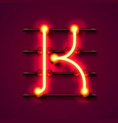 Neon font letter k art design signboard vector
