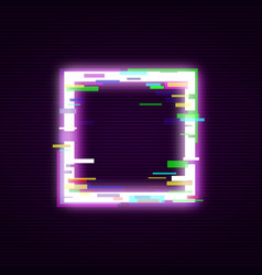 neon square with glitch effect abstract style vector image