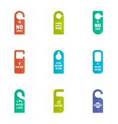 no entry door tag icon set flat style vector image