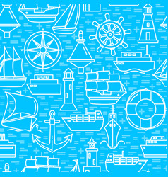 ocean seamless pattern with ship icons in line vector image