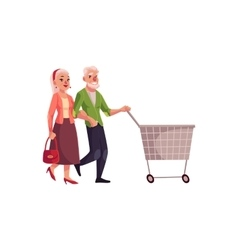 Old senior elder couple shopping together vector image