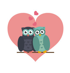 owls in love cute cartoons vector image