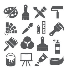 painting and drawing icons on white background vector image