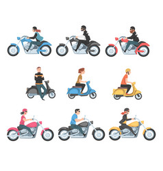 people riding motorcycles and scooters set side vector image