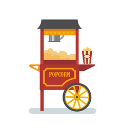 Popcorn machine flat vector