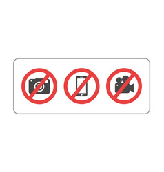 prohibition sign no camera no mobile phone and no vector image