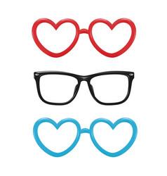 Realistic eyeglasses heart shape photobooth vector