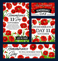 Red poppy flower remembrance day memorial banner vector