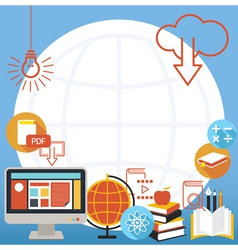 School Online E-Learning Objects Background vector image