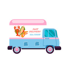 sea food delivery van icon vector image