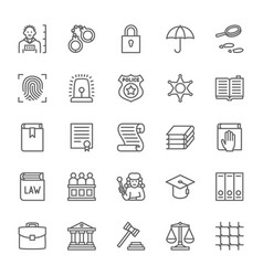 Set of law and justice line icons criminal vector