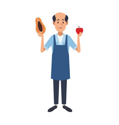 Shopkeeper with fruits vector