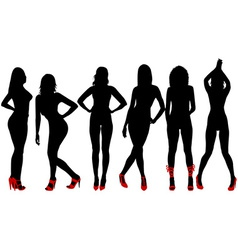 Silhouettes of sexy women with red shoes vector image