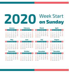 simple 2020 year calendar vector image