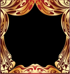 simple red and gold curtain vector image
