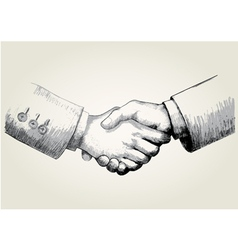 Sketch of shaking hands vector