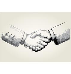 Sketch shaking hands vector