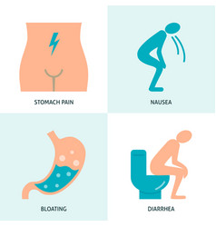 stomach upset icon collection in flat style vector image