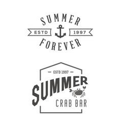 summer holidays design elements set retro vector image