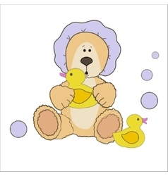 Teddy bear bath time vector