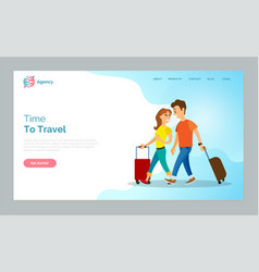 time to travel man and woman walking with bags vector image